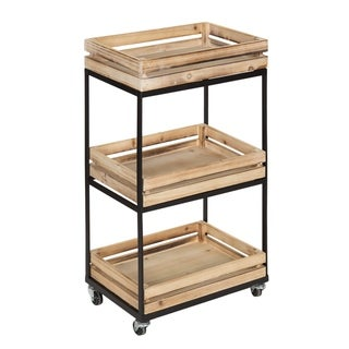 Usman 3 Tiered Storage Cart, With Wheels, Wood with Black Metal Frame