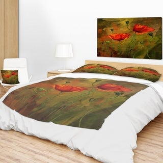 Designart 'Watercolor Poppy Flowers' Floral Throw Blanket