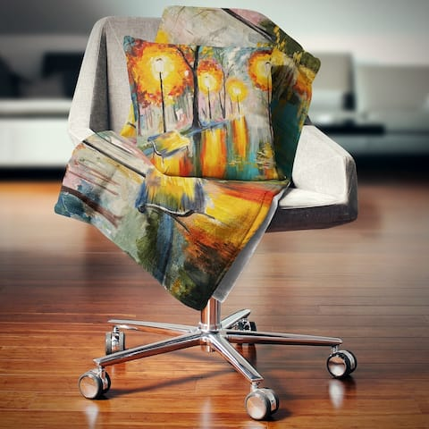 Designart 'Street in Autumn' Landscape Fleece Throw Blanket