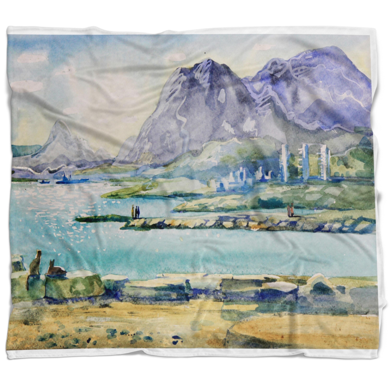 Designart Watercolor Blue Hills Landscape Fleece Throw Blanket On Sale Overstock 20910054 71 In X 59 In