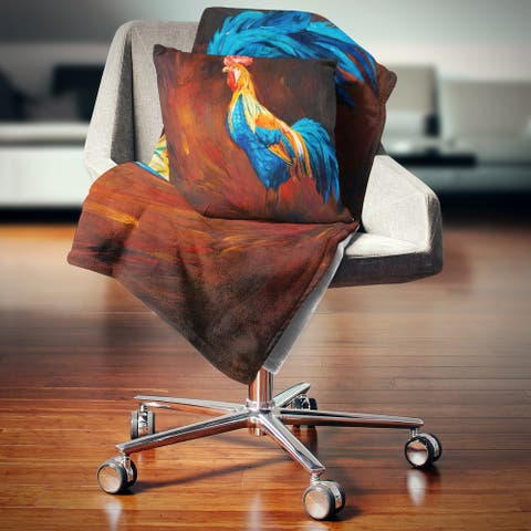 Designart 'Blue and Orange Rooster' Animal Throw Blanket