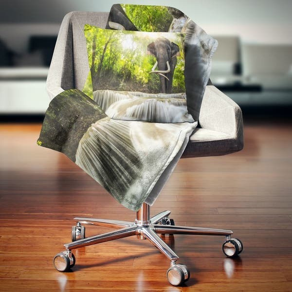 Designart Erawan Waterfall With Elephant Photography Throw Blanket On Sale Overstock 20910235