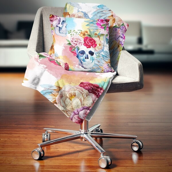 Designart 'Ethnic Skull with Flowers' Floral Throw Blanket. Opens flyout.
