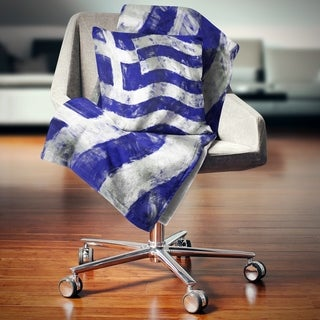 Designart 'Flag of Greece' Contemporary Throw Blanket