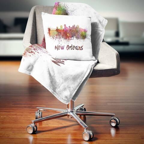 Designart 'New Orleans Skyline' Cityscape Throw Blanket