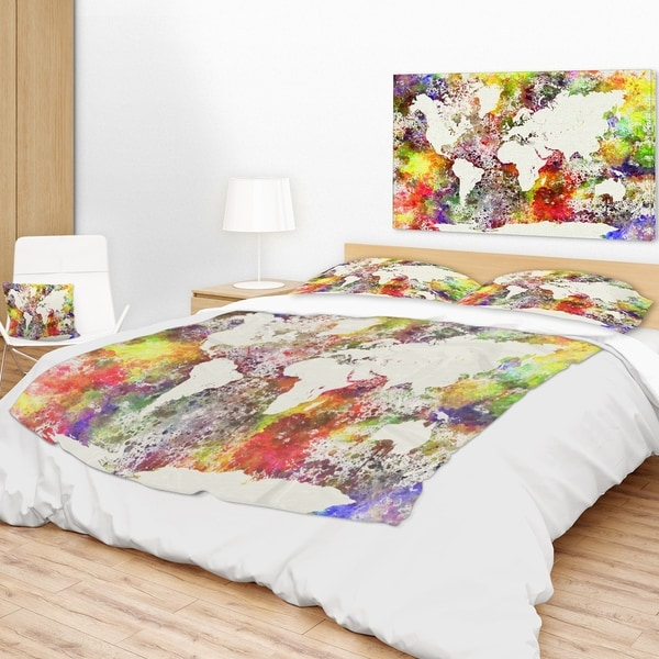 Designart world map in great colors watercolor map throw blanket designart x27world map in great colorsx27 gumiabroncs Image collections