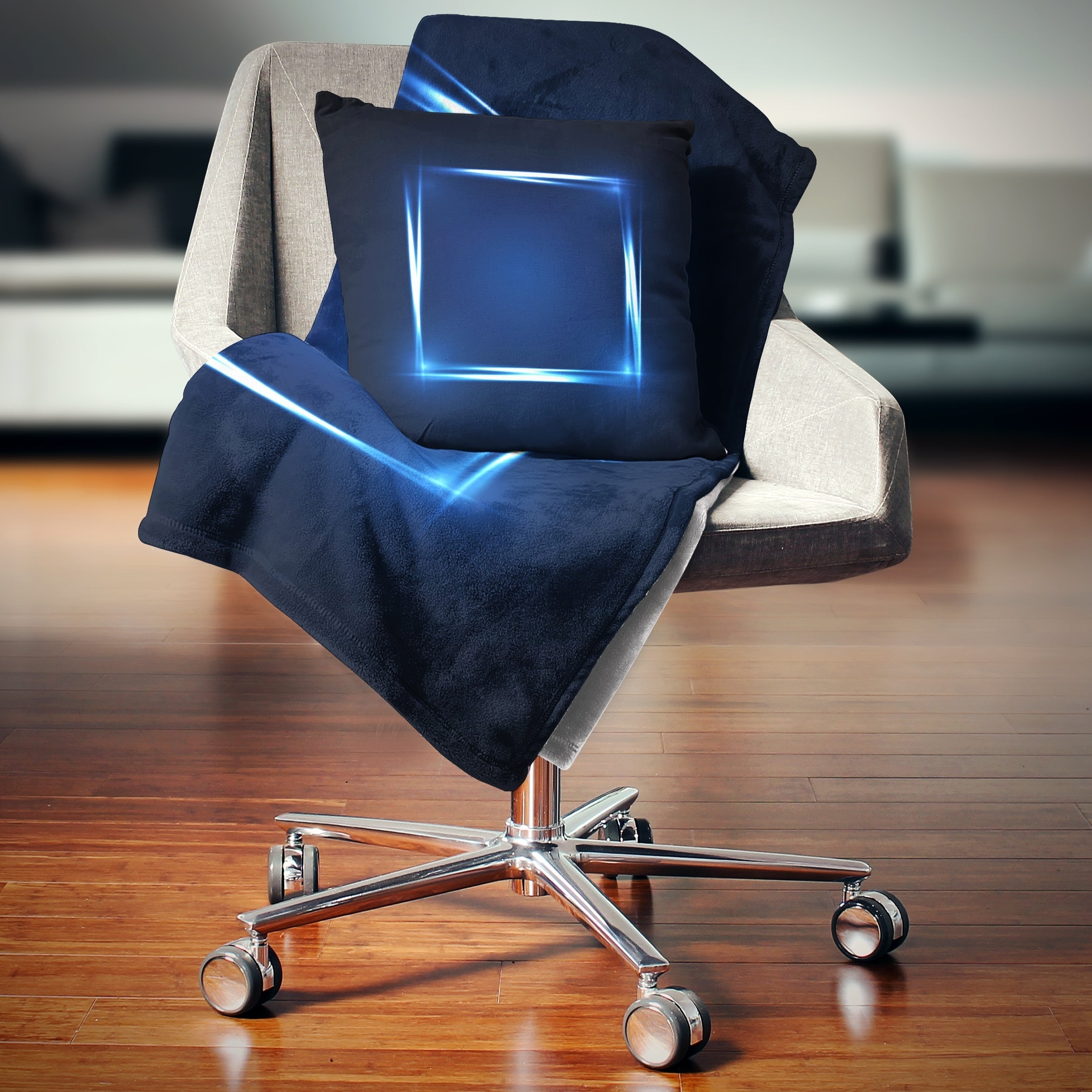 Designart Neon Shape Blue Abstract Throw Blanket On Sale Overstock 20911293 71 In X 59 In