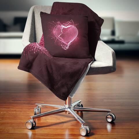 Designart 'Happy Valentine's Day' Abstract Throw Blanket