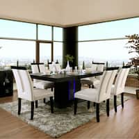 Furniture of America Martin Modern Pedestal Dining Table with LED - Black