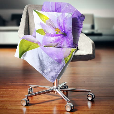Designart 'Glowing Lily Flower' Floral Throw Blanket