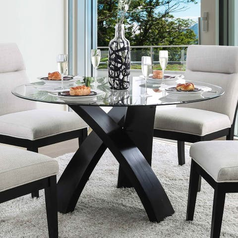 Furniture of America Zibo Contemporary Black 52-inch Dining Table