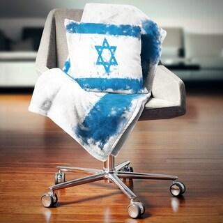 Designart 'Israel Flag Illustration' Flag Painting Throw Blanket