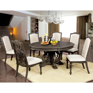 Furniture of America Kaur Rustic Brown 60-inch Round Dining Table