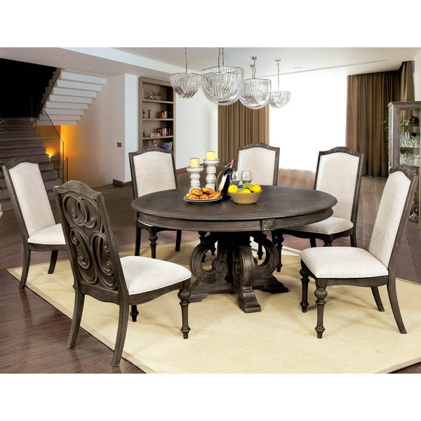Furniture Of America Leland Rustic 60 Inch Round Dining Table Brown
