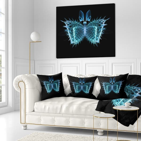 Designart Blue Fractal Butterfly In Dark Abstract Throw Blanket On Sale Overstock 20911926 71 In X 59 In