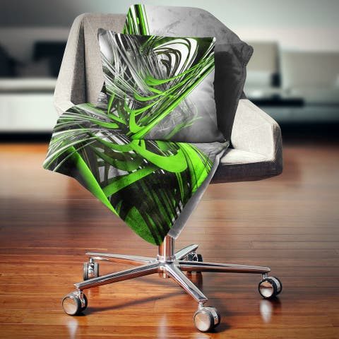 Designart 'Fractal 3D Green Silver Stripes' Abstract Throw Blanket