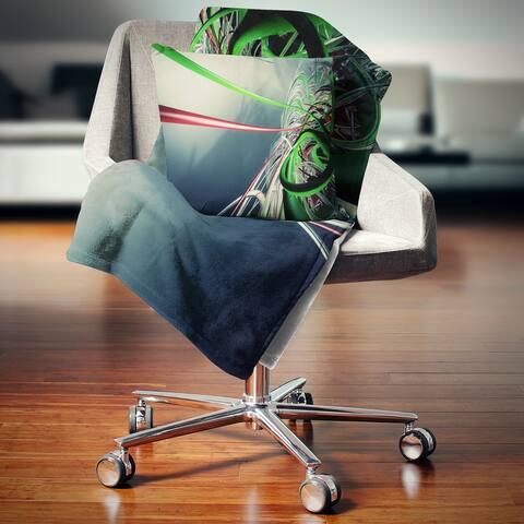 Designart 'Fractal 3D Green Stripes' Contemporary Throw Blanket