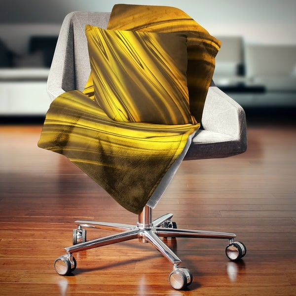 Shop Designart Yellow Liquid Gold Design Abstract Throw Blanket