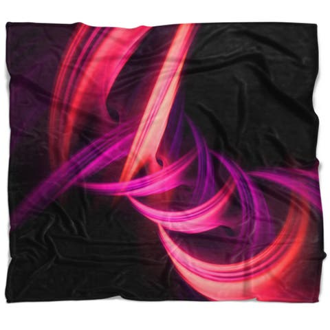 Designart 'Fractal Purple Connected Stripes' Contemporary Throw Blanket