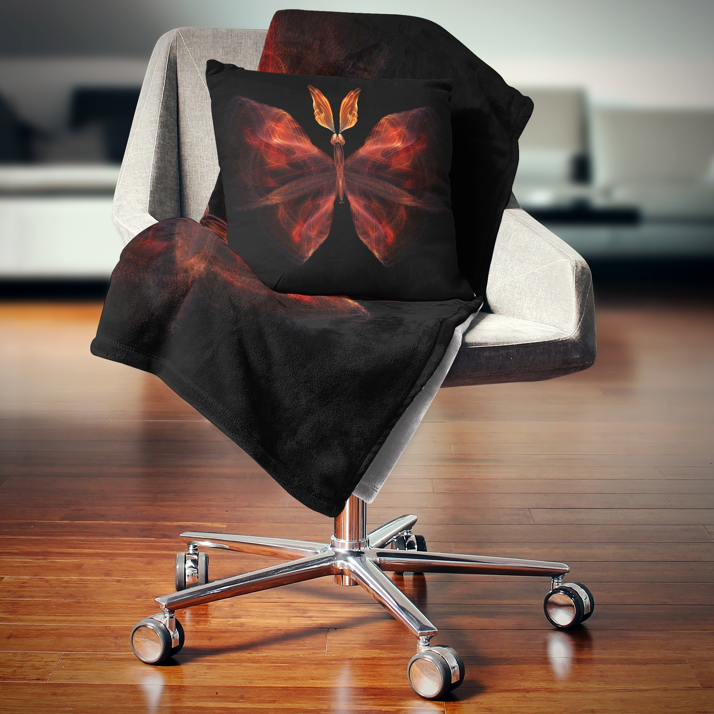 Designart Red Fractal Butterfly In Dark Abstract Throw Blanket On Sale Overstock 20912465 71 In X 59 In