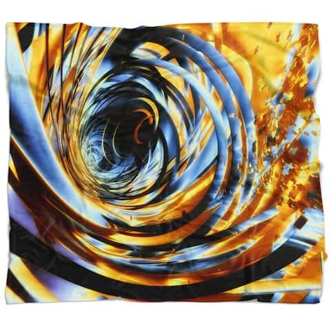 Designart 'Fractal 3D Whirlwind Stripes' Contemporary Throw Blanket