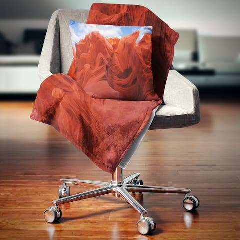 Designart 'Red and Orange Shade in Antelope Canyon' Photography Throw Blanket