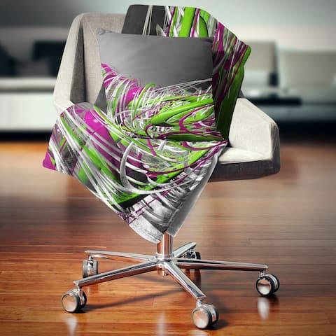 Designart 'Fractal 3D Green Purple Stripes' Contemporary Throw Blanket