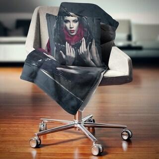 Designart 'Passionate Woman in Black' Portrait Throw Blanket