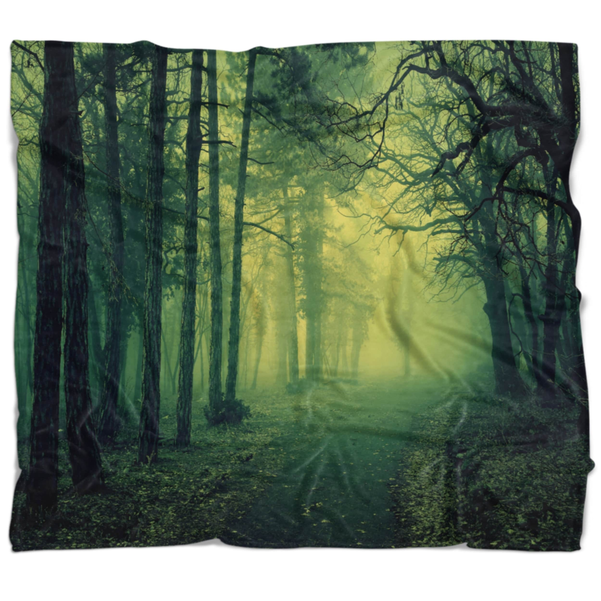 Designart Green Light In Thick Mist Forest Landscape Photography Throw Blanket On Sale Overstock 20912913 71 In X 59 In