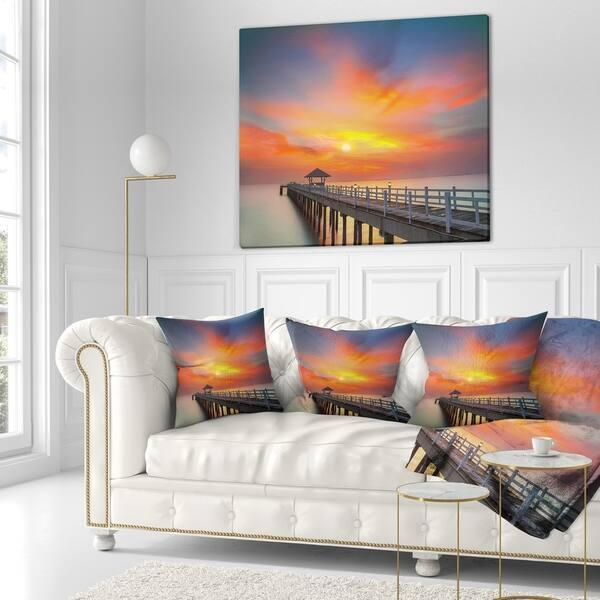 Designart Wooden Bridge Under Yellow Sky Pier Seascape Throw Blanket On Sale Overstock 20913103 71 In X 59 In