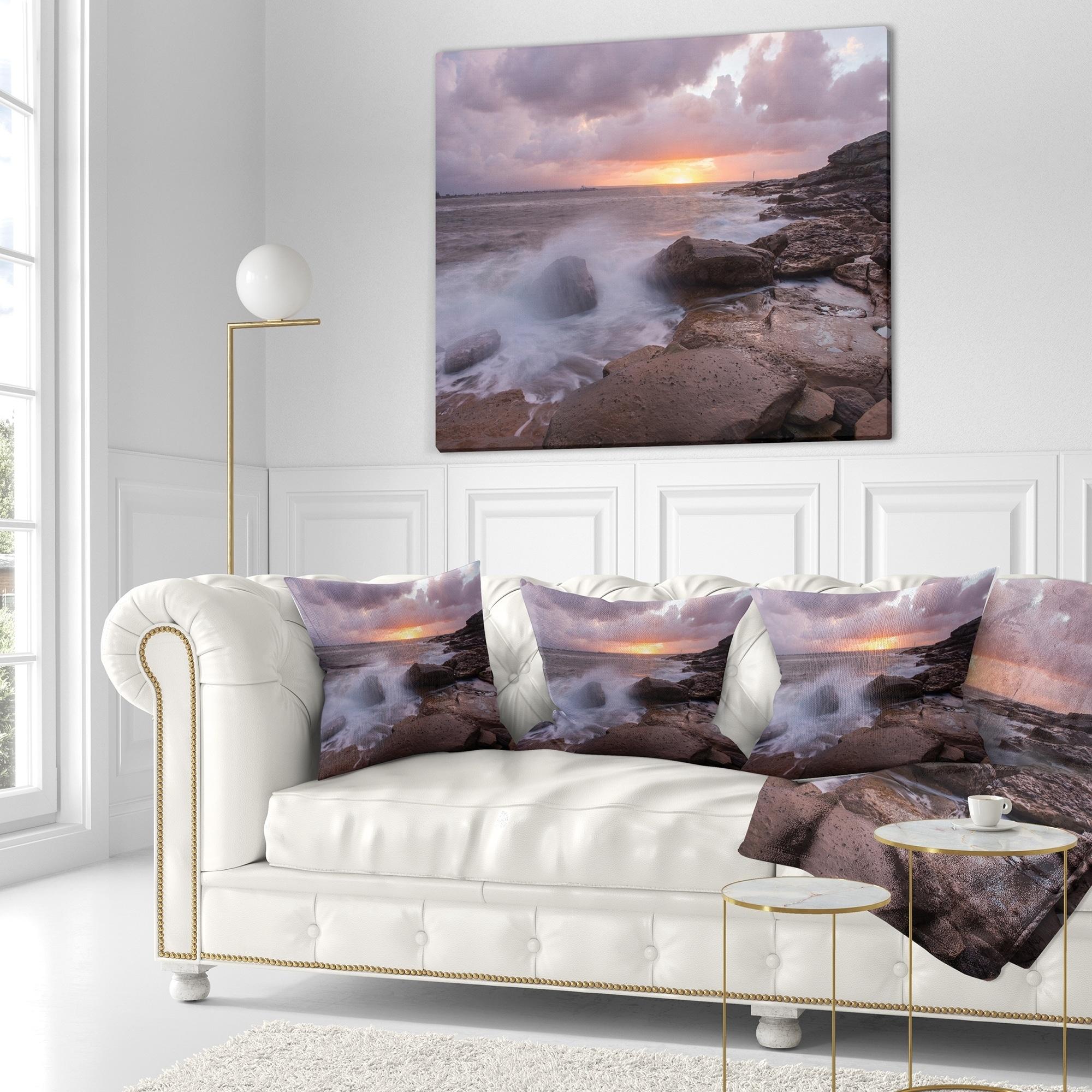 Designart Stormy Waves In Beautiful Australia Beach Seashore Throw Blanket On Sale Overstock 20913402