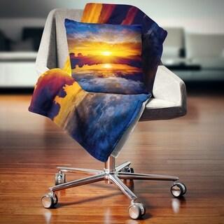 Designart 'Bright Yellow Sunset Over Lake' Seashore Throw Blanket (2 options available)