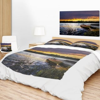 Designart 'Boat Docked in Lake at Sunset' Modern Seashore Throw Blanket (2 options available)