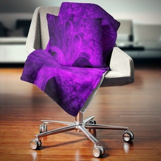Designart 'Bright Purple Magical Fractal Forest' Abstract Throw Blanket