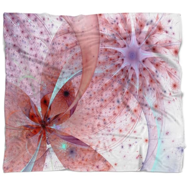 Designart Red And Blue Symmetrical Fractal Flower Floral Throw Blanket On Sale Overstock 20914508 71 In X 59 In
