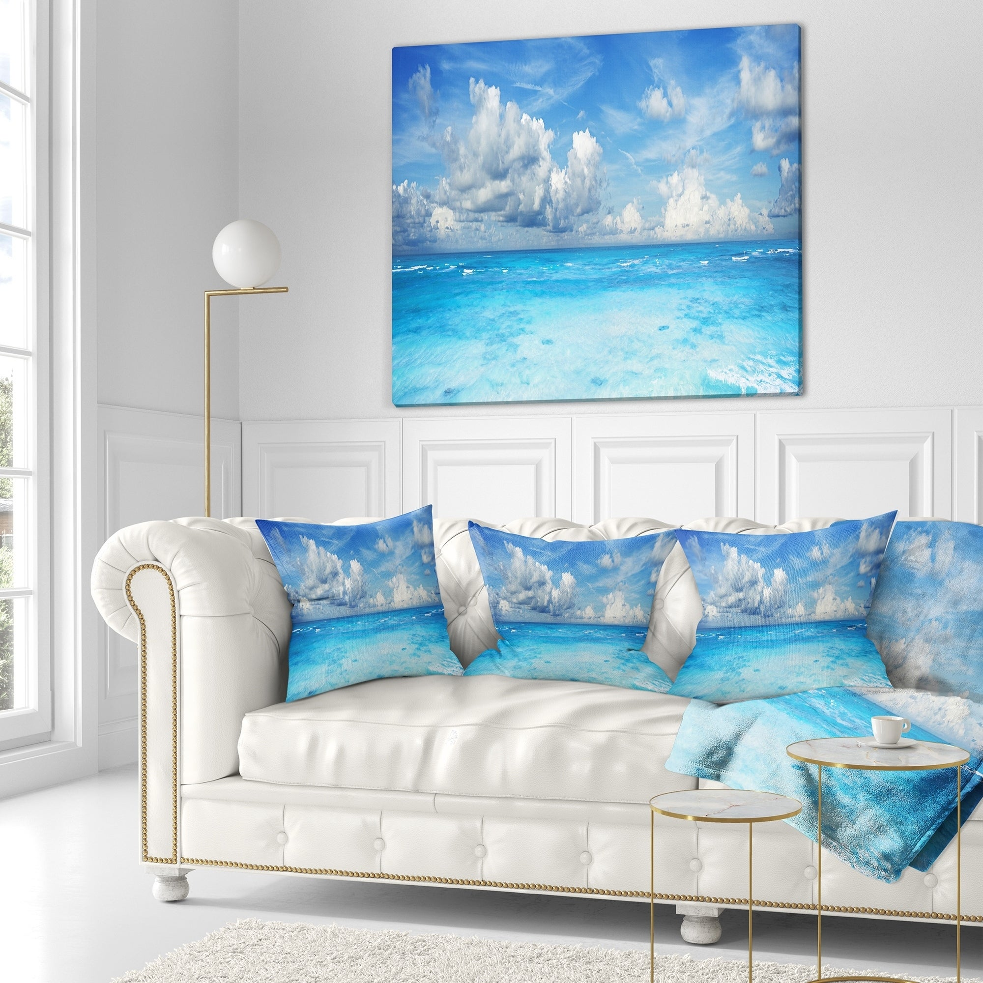 Designart Bright Blue Waters And Sky Panorama Modern Seascape Throw Blanket On Sale Overstock 20914754 71 In X 59 In