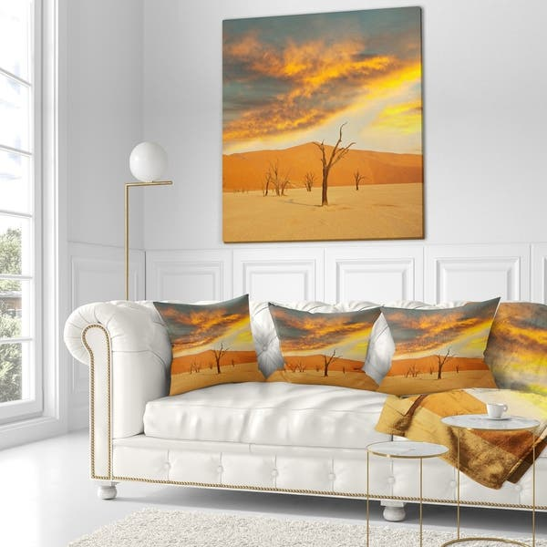 Shop Designart Colorful Death Valley With Dry Trees African Landscape Fleece Throw Blanket On Sale Overstock 20915110