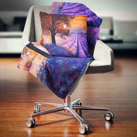 Designart 'Majestic Lavender Field and Tree' Floral Throw Blanket