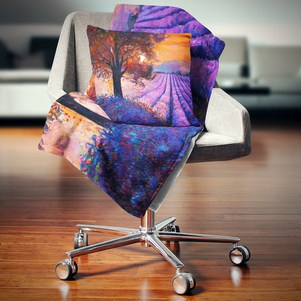Designart 'Majestic Lavender Field and Tree' Floral Throw Blanket. Opens flyout.