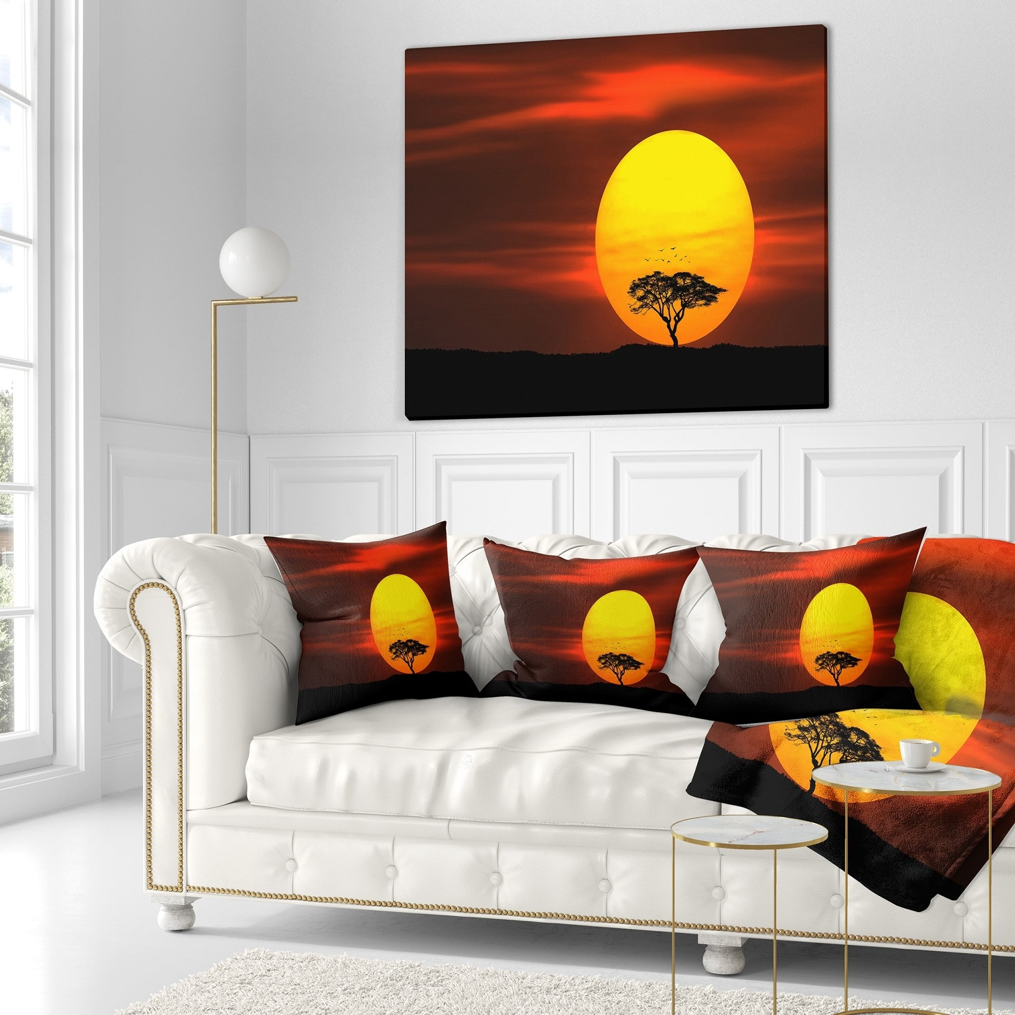 Designart Lonely Tree With Birds At Sunset Landscape Fleece Throw Blanket On Sale Overstock 20915327 71 In X 59 In