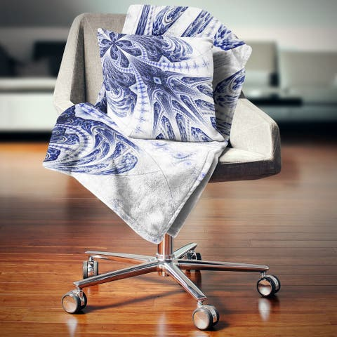 Designart 'Symmetrical Dark Blue Fractal Flower' Floral Throw Blanket