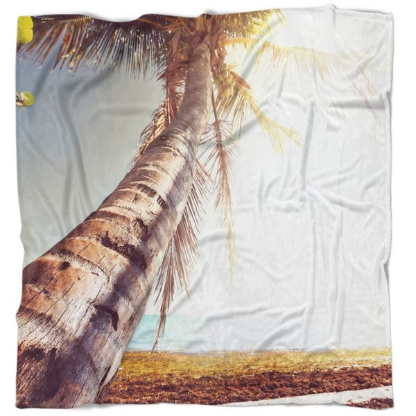 Shop Designart Huge Bent Coconut Tree To Beach Landscape Wall Throw Blanket On Sale Overstock 20915722