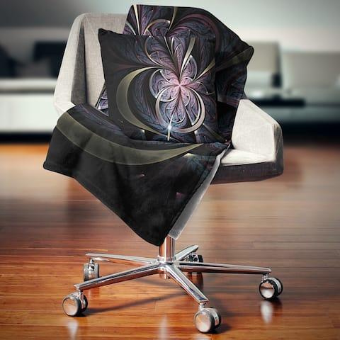 Designart 'Dark Blue Fractal Butterfly Flower' Floral Throw Blanket