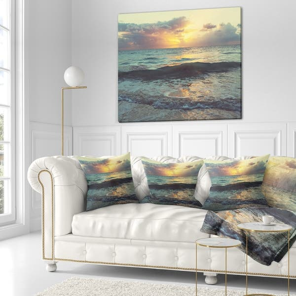 Designart Colorful Bluish Waters At Sunset Seascape Throw Blanket On Sale Overstock 20915743 71 In X 59 In