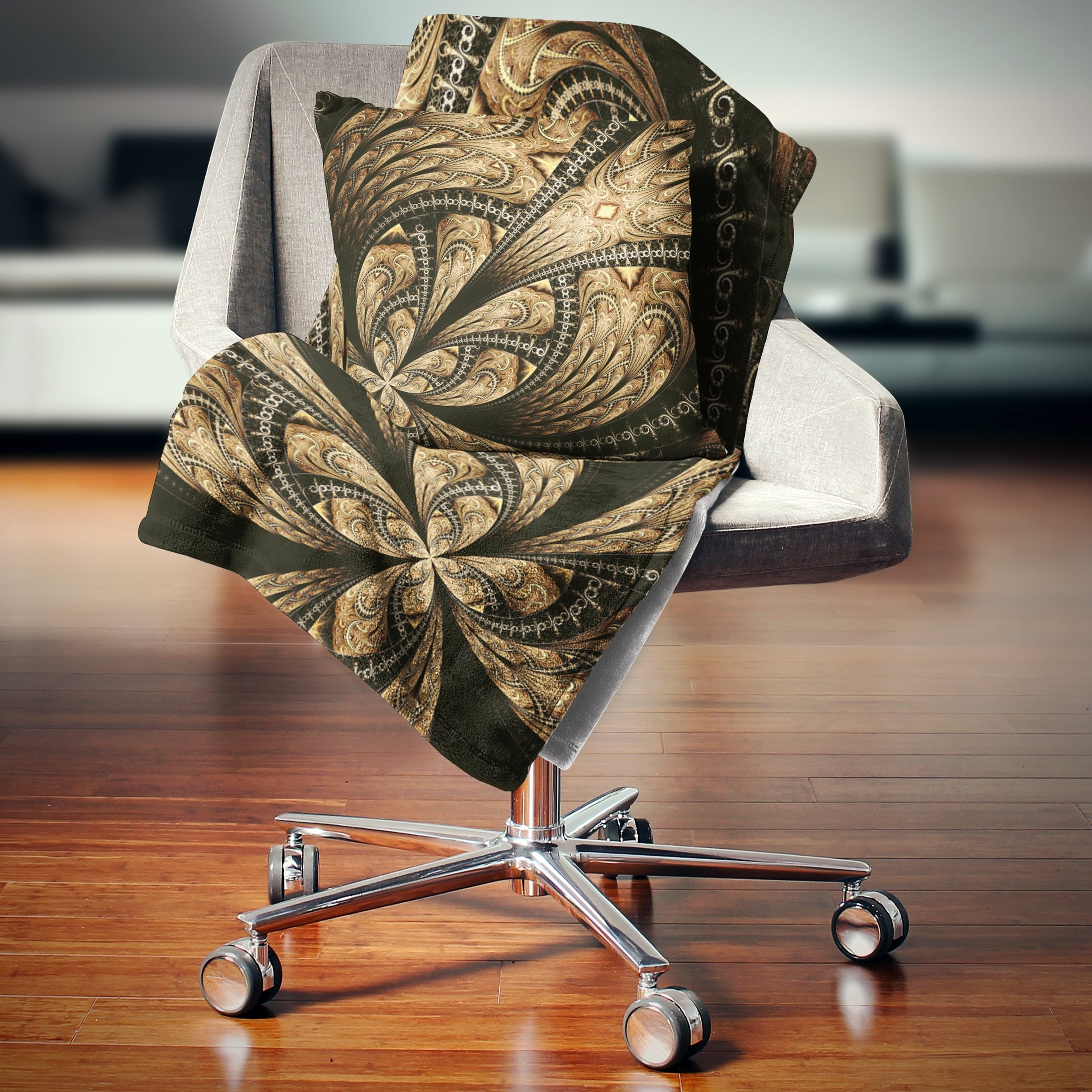 Designart Symmetrical Large Brown Fractal Flower Floral Throw Blanket Overstock 20915793 59 In X 71 In