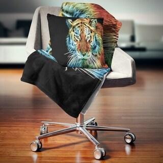 Designart 'Illuminating Tiger Head View' Contemporary Animal Throw Blanket
