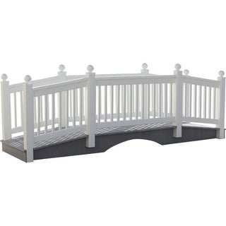12 Foot Vinyl Outdoor Bridge with Gray Vekadeck Flooring