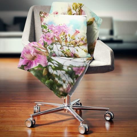 Designart 'Pink Flowers in Hawaiian Garden' Flower Throw Blanket