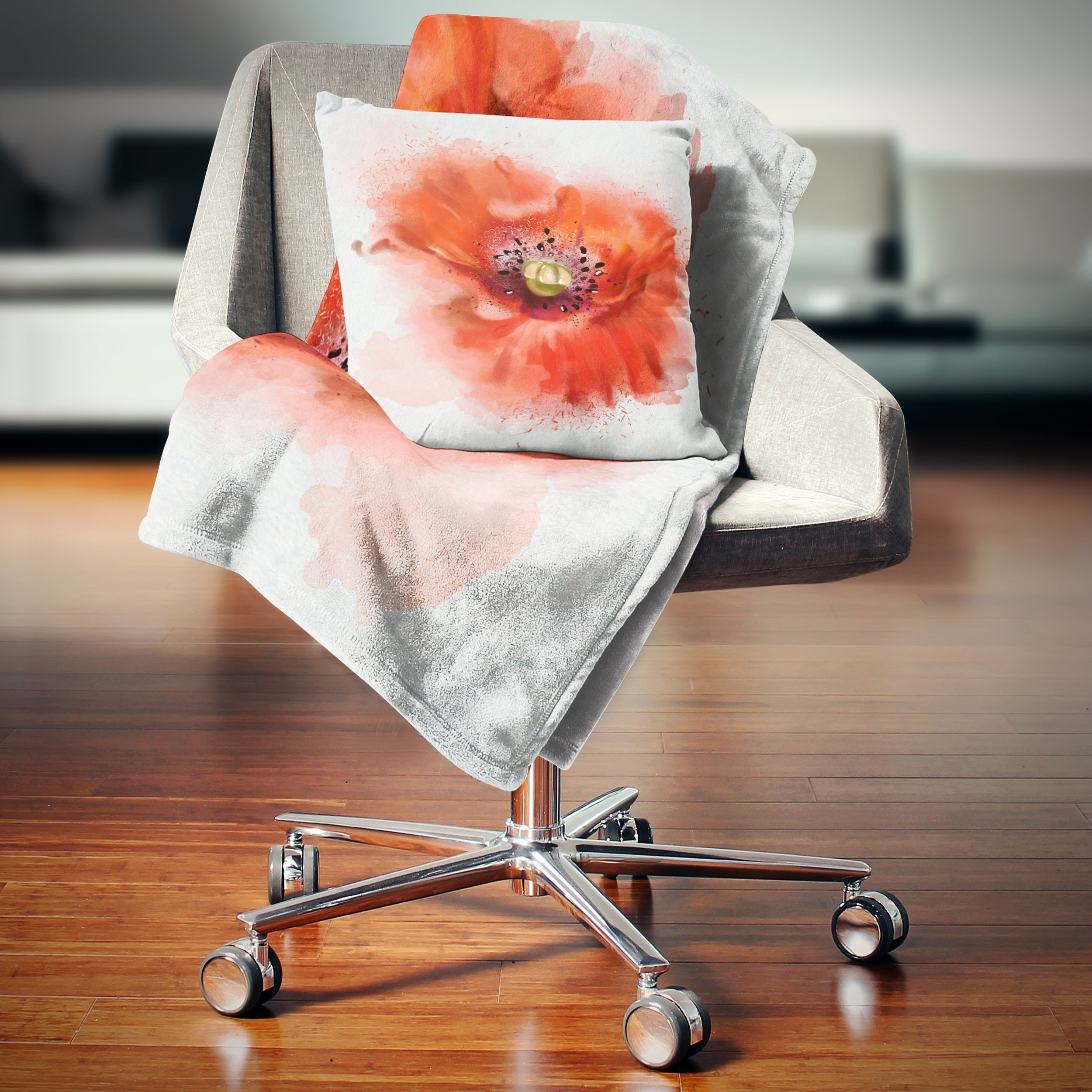 Designart Stylish Red Watercolor Poppy Flower Floral Throw Blanket On Sale Overstock 20916224 59 In X 71 In