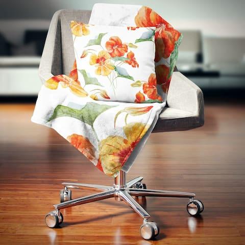 Designart 'Watercolor Nasturtium Flower Pattern' Floral Throw Blanket